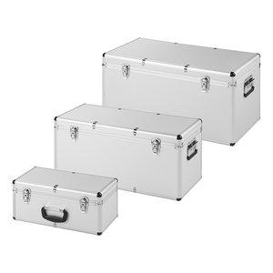 Gereedschapskisten aluminium look set van 3 stuks Omsc