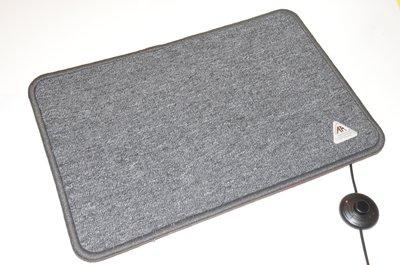 Verwarmde voetenmat 40 x 60 cm  antraciet grijs met drukknop